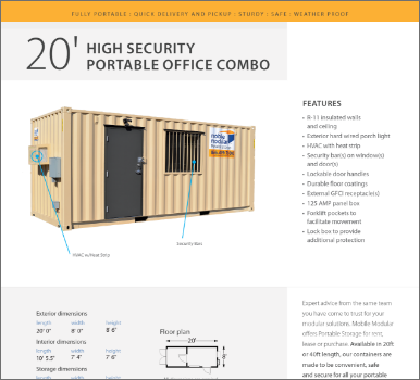 20' High-Security Portable Office Combo