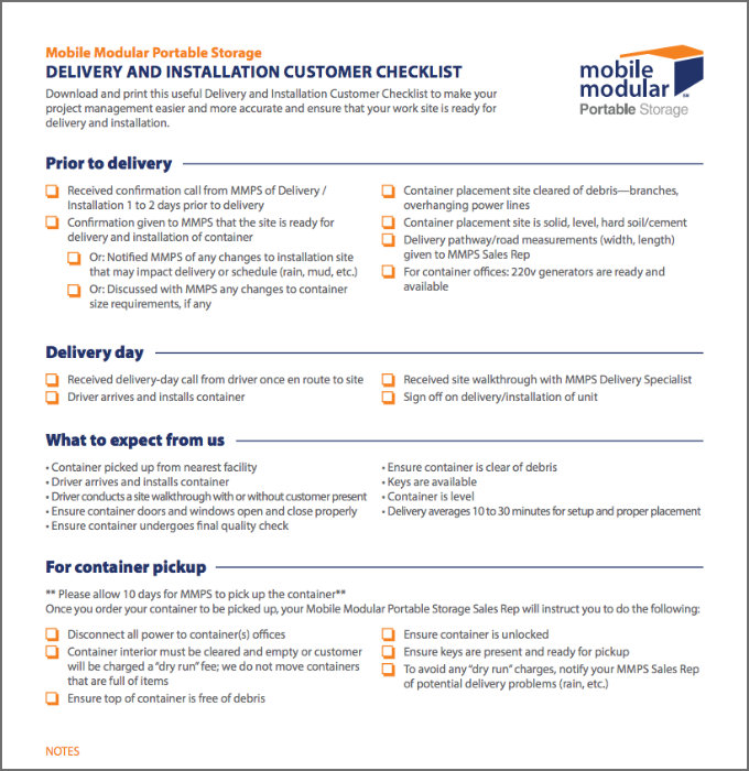 Delivery and Installation Customer Checklist