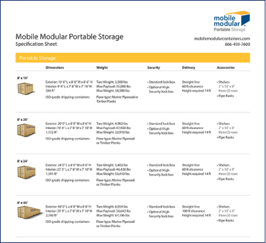 Mobile Modular Portable Storage Specification Sheet
